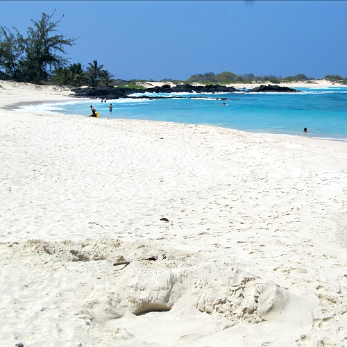 This is Makalawena Beach, one of the most stunning white sand beaches.