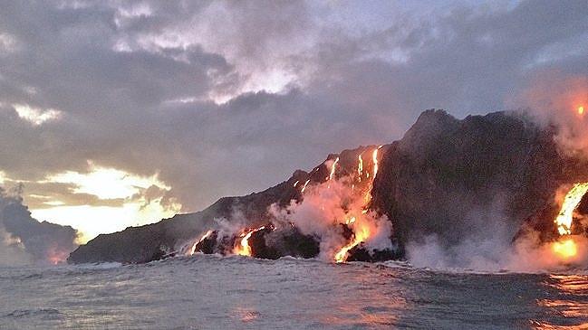 Kilauea Volcano lava flow ocean entry