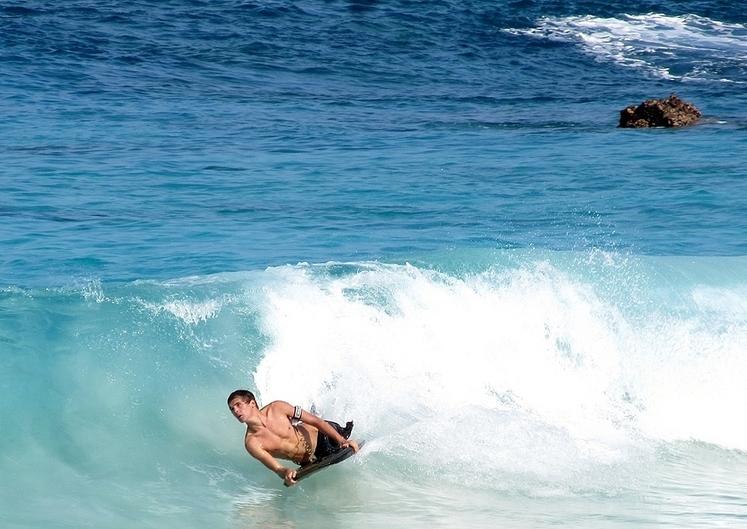 Kua Bay boogie boarding