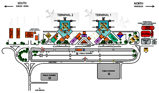 Map of Kona International Airport