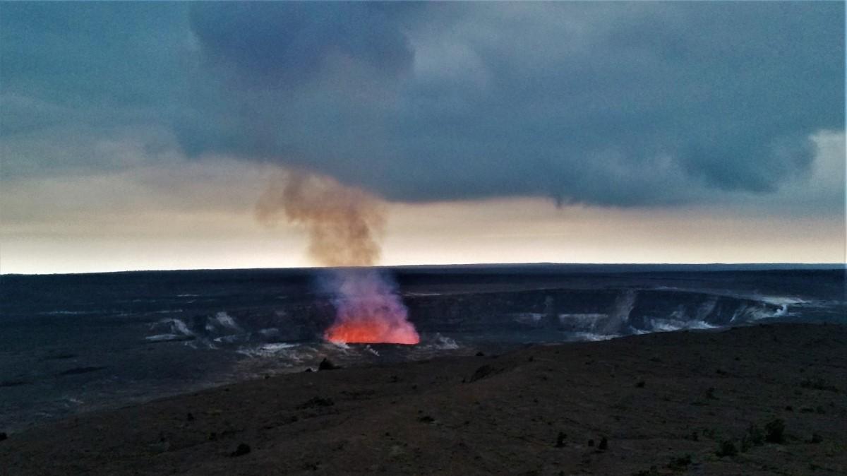 Evening view of Halema'uma'u Crater, Kilauea active volcano Hawaii