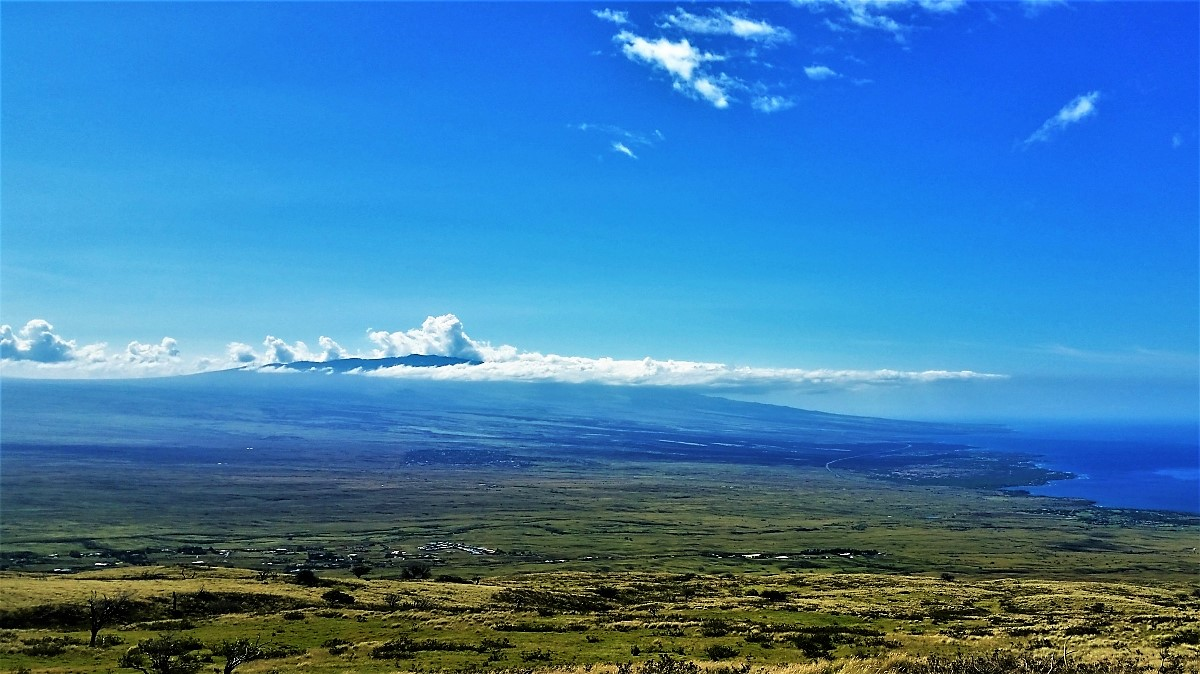 Looking south from Kohala toward Hualalai Volcano