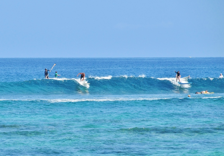 Surfing At Kahalu U Beach Park