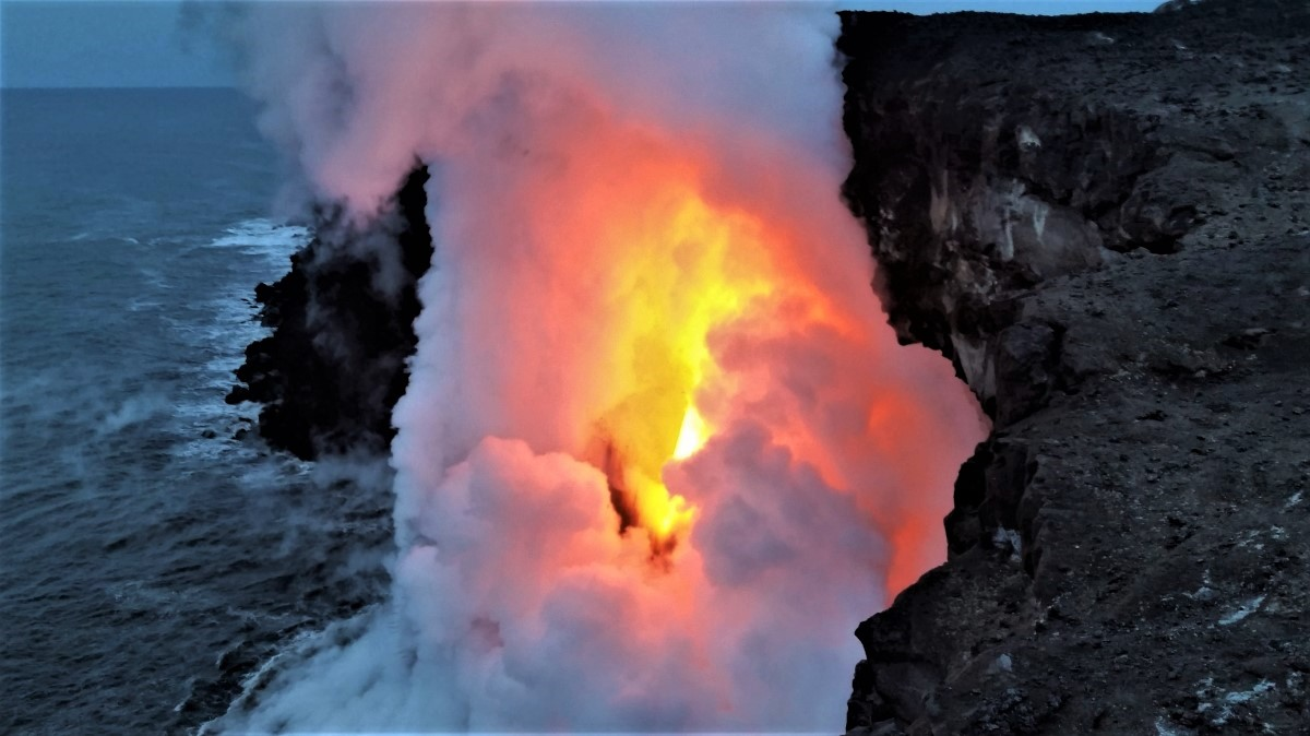 Lava ocean entry at Kamokuna