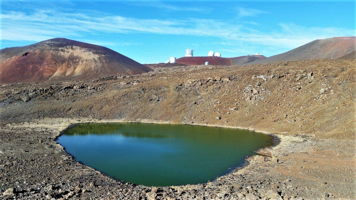 Lake Waiau, with Mauna Kea Observatory